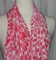 Hand Painted Pink Red Silk Charmeuse Scarf 15 X by StackARockRanch, $40.00