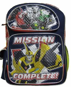 """Transformers Mission Complete 16"""" Red Blue School Backpack Book Bag Autobots NWT #MarvelComics"""