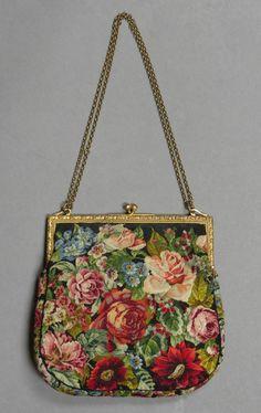 Antique Micro Petit Point Floral Purse Bag Dore Marked Frame C 1900 1920 | eBay