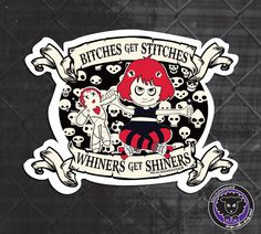 Roller Derby Sticker Bitches Get Stitches by blacksheepclothing. $3.00 USD, via Etsy.