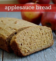 This applesauce bread is the best healthy snack! So flavorful and easy to make. Recipe from Real Food Real Deals.
