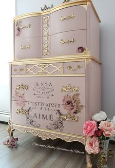 Chic and Shabby Furniture By Rebecca French Provincial Dressers Make Over Chic a. Chic and Shabby Pink Furniture, Hand Painted Furniture, Refurbished Furniture, Repurposed Furniture, Shabby Chic Furniture, Shabby Chic Decor, Furniture Makeover, French Furniture, Country Furniture