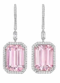 Margherita Burgener kunzite and diamond earrings. Via Diamonds in the Library. Pink Earrings, Dangle Earrings, Diamond Earing, Pink Bling, Pink Quartz, Diamond Are A Girls Best Friend, Diamond Cuts, Diamond Stone, Fine Jewelry