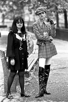 anna sui and model in central park. vogue, 1991