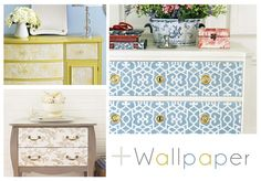Wallpaper DIY Dressers! #DIY Must do this to my old very beaten up dressers!