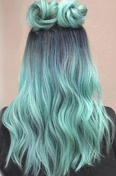 Cute Hair Colors, Pretty Hair Color, Beautiful Hair Color, Hair Dye Colors, Ombre Hair Color, Vivid Hair Color, Aqua Color, Amazing Hair Color, Bun Hairstyles