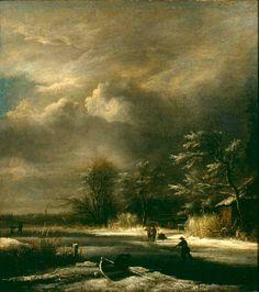 Jacob van Ruisdael - Winterlandschap met schaatsenrijders