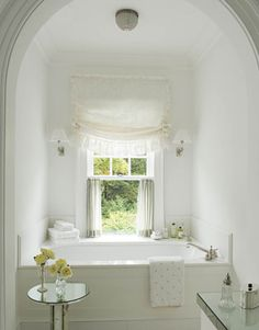 Boxed in bath under window perfect for spare bathroom