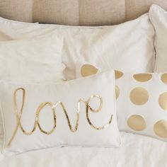Gold Spot Cushion by Max Me Homewares - I like the idea of adding pillows for color and personalization- with a Tiffany blue room this would be perf Gold Rooms, Gold Bedroom, Dream Bedroom, Bedroom Decor, Bedroom Ideas, My New Room, My Room, Decora Home, Big Girl Rooms
