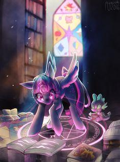 #1612742 - alicorn, artist:spacecolonie, book, bookshelf, crepuscular rays, dragon, female, food, ice cream, magic, magic circle, male, mare, pony, safe, spike, stained glass, starry eyes, twilight sparkle, twilight sparkle (alicorn), wingding eyes - Derpibooru - My Little Pony: Friendship is Magic Imageboard