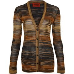 Missoni Gold Striped Lurex Cardigan (20.275 RUB) ❤ liked on Polyvore featuring tops, cardigans, sweaters, jackets, shirts, stripe shirt, gold cardigan, gold shirt, striped shirts and print shirts