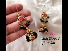 How to make beautiful silk thread jhumkas Silk Thread Jhumkas, Silk Thread Bangles Design, Silk Thread Necklace, Silk Bangles, Thread Jewellery, Jewellery Bracelets, Diy Jewellery, Jewellery Making, Bead Embroidery Tutorial