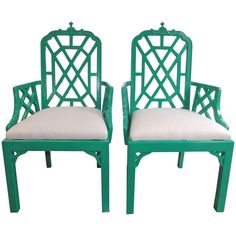 Chinese Chippendale Chairs in Kelly Green with Silk Cushions For Sale at 1stdibs