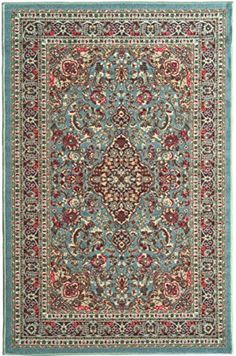 Ottohome Collection Persian Heriz Oriental Design Sage Green Aqua Blue Area Rug 8