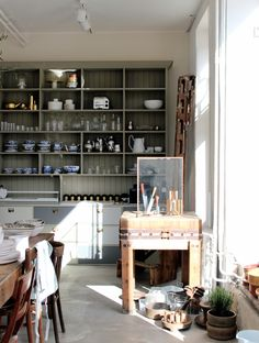 Built in shelving in the kitchen.infinitely preferable to bog standard cupboards. Country Kitchen Farmhouse, Ladies Who Lunch, Cabin Kitchens, Kitchen Interior, Cupboard, Perfect Place, Shelving, Beautiful Homes, Dining