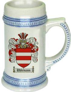 Uhlemann Coat of Arms / Family Crest stein mug