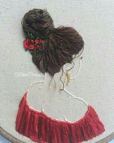 48 Ideas For Embroidery Hair Crafts Diy Embroidery Patterns, Ribbon Embroidery Tutorial, Hand Embroidery Videos, Creative Embroidery, Hand Embroidery Stitches, Embroidery Jewelry, Embroidery Techniques, Beaded Embroidery, Portrait Embroidery