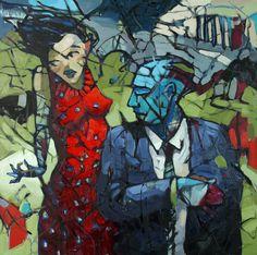 "William Barnhart at Mirada Fine Art, 'Marital Bliss,' Original Oil on Canvas, 48"" x 48"". Available at Mirada Fine Art."