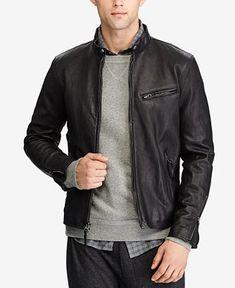 7c2505767 Polo Ralph Lauren Men Cafe Racer Leather Jacket