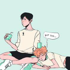 "found thin on tumblr looks like a fan art  related to ""haikyuu, kagehina, kageyama tobio, hinata shouyou""  anyway I love the coloring and what could the image suggest <3"