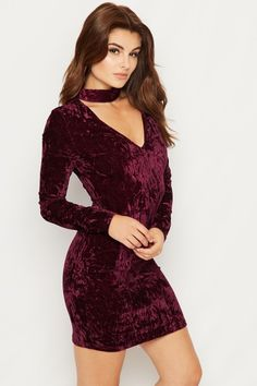 Linda Crushed Velvet Choker Dress | WearAll
