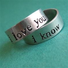 For my Jedi, Star Wars rings capturing Han and Leia's romantic exchange. (He asks, do they come in carbonite?)