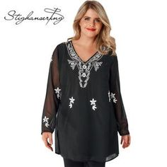 Kissmilk Plus Size Women Solid Black Shirt National Style Contrast Color  Floral Embroidery Tops V-Neck Long Sleeve Loose T Shirt 38f9bf811098