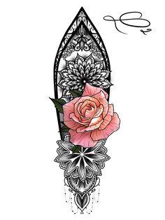 Flower Mandala tattoo design with rosé Mandala Tattoo Design, Tattoo Designs, Flat Design, My Design, Flower Mandala, Phone Wallpapers, Tattoos, Rose, Flowers