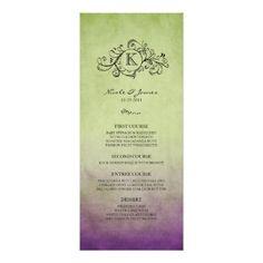 Rustic Green and Purple Bohemian Wedding Menu Custom Invite