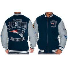 Men s New England Patriots Navy Blue Gray Super Bowl XLIX Champions Multi  Champs Cotton Canvas Jacket 9c086bd92