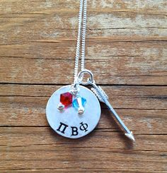 Pi Beta Phi Necklace with Arrow Charm, Sterling Silver - Sorority Jewelry, Greek Jewelry, Big Sis Lil Sis, Sisters, Sorority Gift by TomisTreasures on Etsy https://www.etsy.com/listing/162438204/pi-beta-phi-necklace-with-arrow-charm