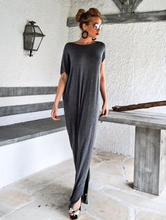 Dark Gray Open Back Bow Maxi Dress Kaftan / от SynthiaCouture