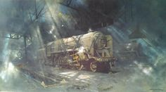 Wildlife and railway artist David Shepherd. A Britsh contemporary oil painter who has received worldwide acclaimation for his African wildlife and steam locomotive paintings. Heritage Railway, Old Steam Train, Steam Railway, Train Art, Train Engines, Dutch Artists, Traditional Paintings, Steam Engine, Steam Locomotive