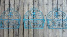 Shabby Chic Garden Wrought Iron Planters Plant Holders by FFR13, $49.95 Shabby Chic Garden, Plant Holders, Wrought Iron, Planters, Yard, Unique Jewelry, Amazing, Handmade Gifts, Vintage
