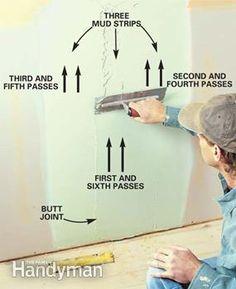 How to Tape Drywall - Herzlich willkommen Drywall Tape, Drywall Repair, Home Improvement Loans, Home Improvement Projects, Hanging Drywall, How To Install Drywall, Drywall Finishing, Drywall Installation, Diy Home Repair