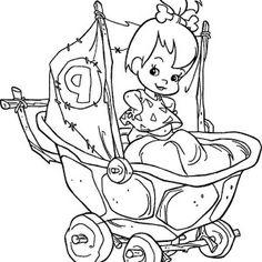 The Flintstones, Pebbles Flintstone In Her Cart  In The Flintstones Coloring Page: Pebbles Flintstone in Her Cart  in the Flintstones Coloring Page