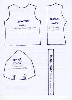 Nancy tank and beanie Baby Dress Patterns, Doll Clothes Patterns, Doll Patterns, Clothing Patterns, Sewing Patterns, Vestidos Nancy, Nancy Doll, Doll Making Tutorials, Disney Animator Doll