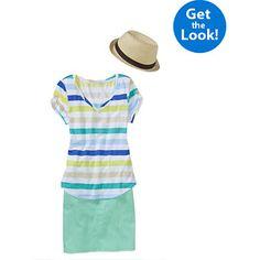 Womens Tee and Denim Skirt Beach Day Bundle