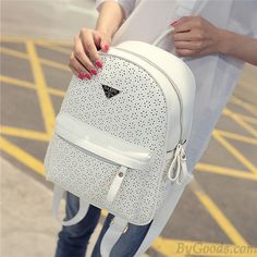 Casual Nice Solid Hollow Flower School Bag Travel Backpack