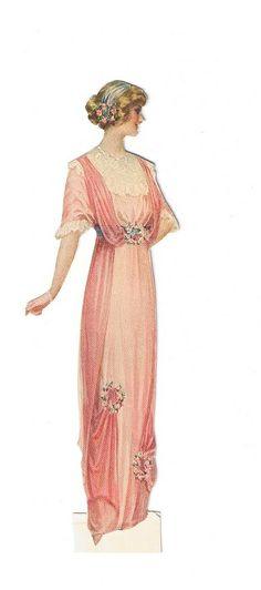 vintage lady fashion, woman in pink dress