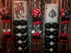 Casino theme balloon decorations by Rosielloons. Like on Facebook.