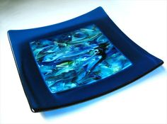Turquoise & Blue Fused Glass Plate or Platter by DKglassshop