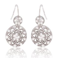 Sterling Silver Delicate Flower Design Double Circle CZ Stones Earrings - tulipsandbluebells