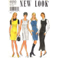 Empire Jumper Pattern New Look 6550 Square Neckline, Fitted Sleeveless Dress Size 6 to 16 New Look Patterns, Sewing Patterns, Jumper Patterns, Square Necklines, Empire, Fitness, Collection, Dresses, Fashion