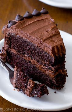 An easy recipe for triple chocolate layer cake.