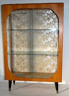 Small 1950s Vintage Retro Atomic Glass Beech Wood Display Cabinet Fab Condition added to our eBay shop