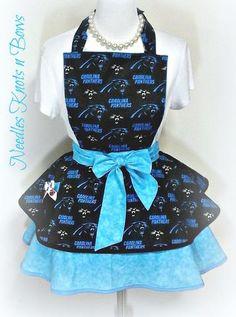 Carolina Panthers Womens Apron, Womens Flirty Panthers Apron, Gifts for Women, Football Apron, Game Day, Bridal Shower Gift
