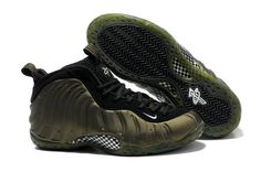 low priced 7203a 0ecd3 Nike Air Foamposite One Army Green Black All White Basketball Shoes, Nike  Basketball Shoes,