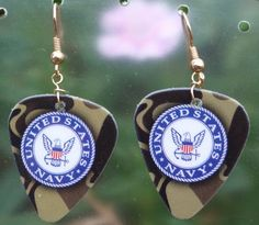 Military Guitar Pick Earrings - Army, Navy, Air Force or Marines.