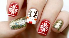11 Holiday Nail Art Designs Too Pretty To Pass Up - Makeup Tutorials-Chanel your nail junkie self with these nail art designs and deck your nails with these sparkly hollies and snowflakes holiday nail art designs! Holiday Nail Designs, Cute Nail Art Designs, Holiday Nail Art, Christmas Nail Art, Acrylic Nail Designs, Christmas Holiday, Acrylic Nails, Elegant Christmas, Nail Art Simple